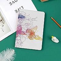 新しい iPad Pro 11 ケース (2018モデル)スタンド機能 iPad Pro 11 インチ (2018新型) 保護カバー 軽量 薄型 シンプル 2つ折タイプ 全面保護型 傷つけ防止 iPad pro 11手帳型 (iPad pro 11 (2018))フライング蝶と華やかな花の装飾的な幻想的な構成