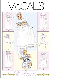 McCall`s Patterns M6221 Infants` Christening Gown, Rompers with Snap Crotch in 2 Lengths and Bonnets