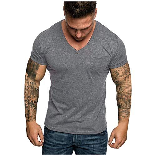 Yowablo T-Shirts/Tops Herren V-Ausschnitt Tasche gestreiftes Muster Casual Fashion Revers Kurzarm Shirt (S,1Dunkelgrau)