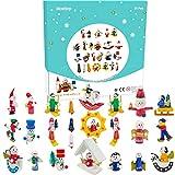 Calendario dell'Avvento 2021 Conto alla rovescia di Natale Calendario natalizio Figure natalizie in miniatura 24 pezzi Pendenti in legno appesi Ornamenti per alberi di Natale