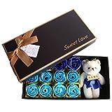 12 Rose Flower Soap Flower + Plüsch Bär, Valentinstag Romantisches Geschenk mit Box für...