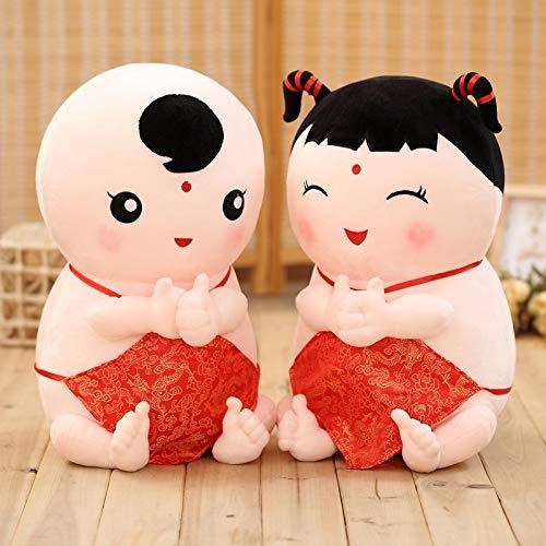 SHENJINGLI Süße plüschtiere, Glück Porzellanpuppe Hochzeit Puppe für Kinder, Schlafzimmer, Sofas, Autos, Freundinn (Color : A Pair, Size : 40cm)