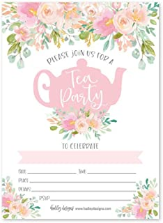25 Floral Tea Party Invitations, Little Girl Garden Tea Cup Time Bridal or Baby Shower Invite, High Tea Themed Ladies Event Ideas, Vintage Kids Birthday Supplies, Printed or Fill in The Blank Card