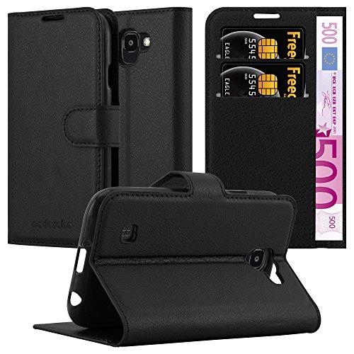 Cadorabo Hülle für LG K3 2017 - Hülle in Phantom SCHWARZ – Handyhülle mit Kartenfach & Standfunktion - Hülle Cover Schutzhülle Etui Tasche Book Klapp Style