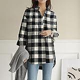A-HXTM Camisa Blusa de Primavera Mujer Manga Larga Impreso Tops de Oficina Blusa Larga Camisas Femeninas Tallas Grandes se aplican al Trabajo Negocios o Uso Diario etc.-Stye_B-Black_XXXL