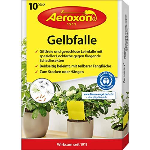 Aeroxon - Gelbfalle - Gelbtafeln - 10 Stück - für Topf, Garten und Balkon - fängt die geflügelten Blattlaus, Thripse, Trauermücke und weiße Fliege