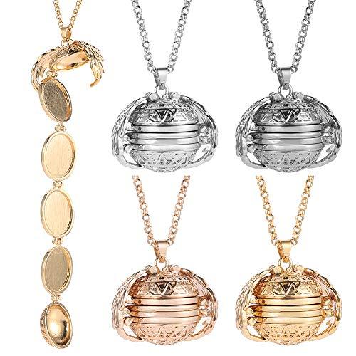 Hellomagic 4 piezas de collar con colgante de foto expandible con camafeo para fotos, collar con colgante de ala de ángel, accesorio de moda para San Valentín