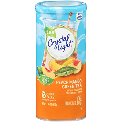 Crystal Light Drink Mix, Peach Mango Green Tea, Pitcher Packets (Pack of 12 Canisters)