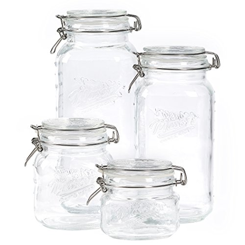 Mason Craft & More Airtight Kitchen Food Storage Clear Glass Clamp Jars, 4 Piece Clamp Preserving Jar Set (.5L, 1L, 2L, and 3L)