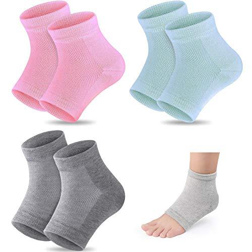 3 Paar Gel-Fersensocken,Feuchtigkeitsspendende Socken,offene Zehensocken,lindern Fersenschmerzen,bequem,weich,belüftet, feuchtigkeitsspendend,geeignet für Männer und Frauen,rissige High Heels