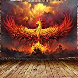 Fantasy Phoenix Bird Small Tapestry for Men, Red Anime Animal Hippie Tapestry Wall Hanging for Bedroom, Aesthetic Cool Tapestry Beach Blanket College Dorm Home Decor (60' W X 40' H)