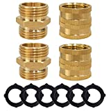 Hourleey Garden Hose Adapter, 3/4 Inch Solid Brass Hose Connectors Adapters, Male to Male, Female to Female, 4-Pack with Extra 6 Washers