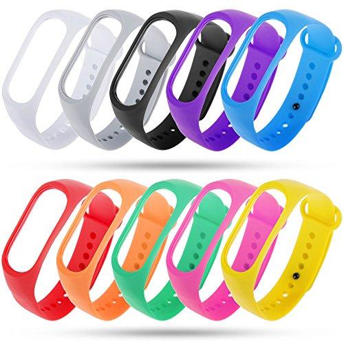 Zacro Xiaomi Mi Band 3/4 Armband 10 Stücke Ersatzband für Xiaomi 3/4 Wasserdichtes Mehrfarbiges Ersatzband Kein Tracker