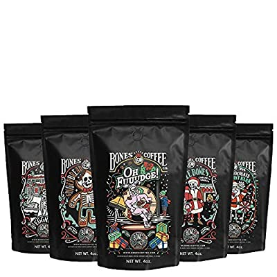 Bones Coffee Holiday Sample Pack Gift Set, Ground Coffee Beans Sampler, Flavored Coffee Gifts, Pack of 5 Assorted Flavored Coffee Beans (Whole Bean)