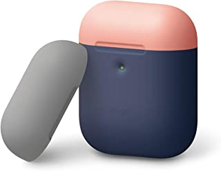 elago Duo Silicone Case – 2 Caps & 1 Body, Compatible with AirPods 2, Front LED Visible, No Hinge Design, Supports Wireless Charging, Protective Premium Silicone (Body-Jean Indigo/Top-Peach, Medium Grey)