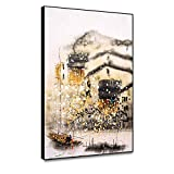 N / A Watercolour Landscape Painting Chinese Painting Poster Wall Painting Living Room Decoration Home Decoration Frameless 64x80cm