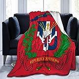 DUTRIX Manta de franela de la bandera de la República Dominicana, suave y cálida, de alta calidad, duradera, cómoda manta de sherpa para oficina, hogar, cama, manta de 50 x 40 pulgadas