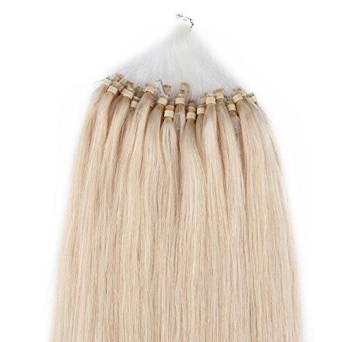 Beauty7 - Räumungsausverkauf - 100 STK Echthaarstraehnen Remy Echthaar Haarverlaengerung Loop Micro Ring Microring Haare 50cm Echthaar Extensions 1g Straehnen 20 Zoll Platinblond #60
