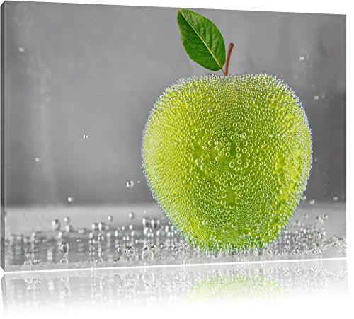 Apfel in Wasser grüner Apfel Obst Früchte Format: 60x40 cm auf Leinwand, XXL riesige Bilder fertig gerahmt mit Keilrahmen, Kunstdruck auf Wandbild mit Rahmen, günstiger als Gemälde oder Ölbild, kein Poster oder Plakat