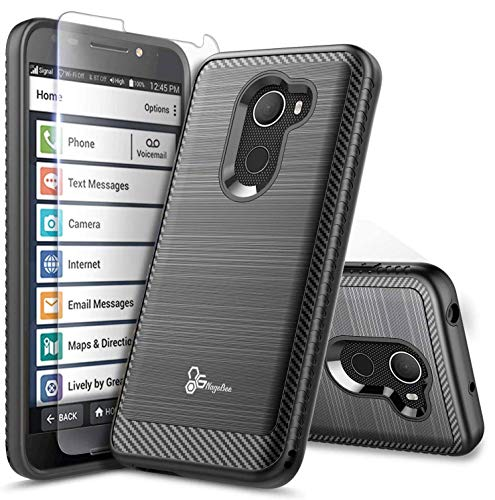 E-Began Case for Jitterbug Smart 2, (Easy-to-Use 5.5 Screen) Brushed Carbon Fiber Designed, Premium Heavy Duty Defender Shockproof Dual Layer Hybrid Cover Phone Case -Black