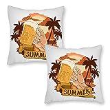 76DinahJordan Sommer-Bier-Party-Element mit Strand-Kissenbezügen, 45 x 45 cm, 2 Stück, Bauernhaus, modern, lustig, Kissenbezug für Dekoration, Sofa, Sitze, Gartenstühle