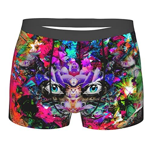Herren-Boxershorts, weiche Unterwäsche, dehnbar, atmungsaktiv, zum Laufen, Mysterious Fantay Butterfly Bunt Tiger Beast Schwarz, XXL