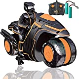 RC Motorcycle with Extra Batteries, Remote Control 360° Spinning Wheels Stunt Motorbikes - Rotating Drift 2WD High Speed Car Toys with Riding Figure - Gift for Kids Boys Girls 4-12 Years Old