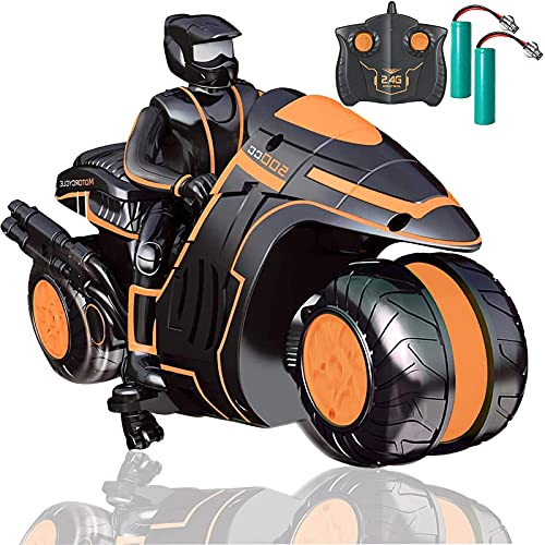 RC Motorcycle with Extra Batteries, Remote Control 360° Spinning Wheels Stunt Motorbikes - Rotating...