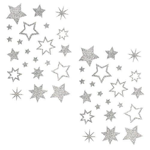 Oblique-Unique® Stern Sticker Aufkleber Silber Glitzernde Funkelnde Sterne Mix - selbstklebend