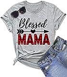 Blessed Mama Thanksgiving Shirt Women's Buffalo Plaid Print Cute Graphic T Shirt Thankful Gift Casual Tee Tops(Gray, XL)