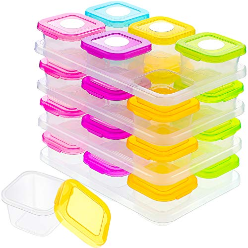 24 Pieces Baby Food Storage Freezer Containers, 4 oz Plastic Baby Food Jars with Leakproof Lids, Small Baby Blocks Snack Containers and White Sticker Label for Infant Babies