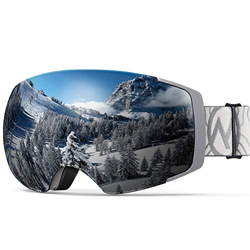 OutdoorMaster Ski Goggles PRO - Frameless, Interchangeable Lens 100% UV400 Protection Snow Goggles for Men & Women (Camo Frame VLT 10% Grey Lens with REVO Silver and Free Protective Case)