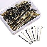 Horquillas para el pelo, 50 horquillas de acero inoxidable negro y 50 agarraderas de metal rubio con caja de almacenamiento transparente para decoración de cabello para mujeres y niñas.