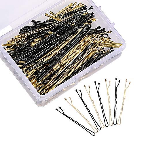 Bobby Pins, 50 horquillas de acero inoxidable negro y 50 pinzas de pelo de metal rubio con caja de almacenamiento transparente para mujeres y niñas decoración de peinado.