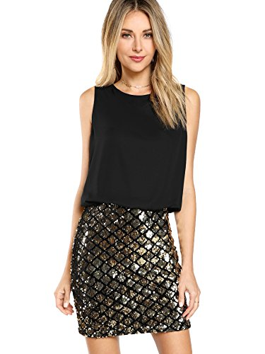 Romwe Women's Sexy Layered Look Fashion Club Wear Party Sparkle Sequin Tank Dress Black L