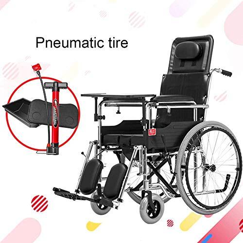 L-Y Transport Medizinischer Älterer Rollstuhl 29 Kg Ergonomische Fortschrittliche Komfortarmlehne Verstellbares Hinteres Bein 130 Kg Belastbar 45 * 46 cm Sitz und Töpfchen