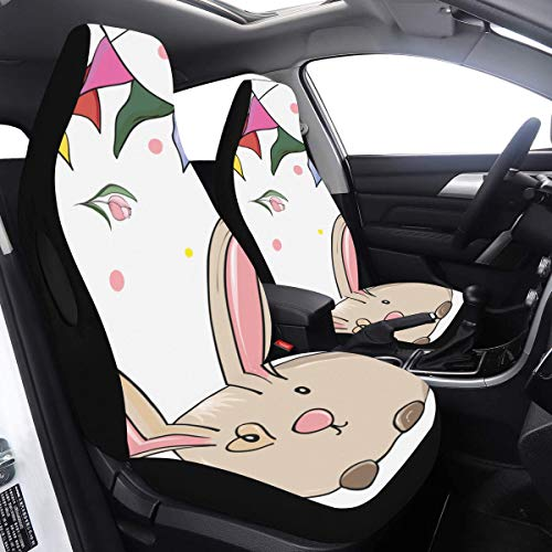 SUV Car Cover Rabbit with Bunting Flag XL Car Seat Cover 2 Pcs Universal Fit Airbag Compatible for for Car SUV Auto Truck SUV Seat Cover