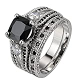 FENDINA Womens Luxurious 18K White Gold Plated Wedding Engagement Rings Princess Cut 2.5ct Created Black Diamond Solitaire Anniversary Promise Rings Set, 10