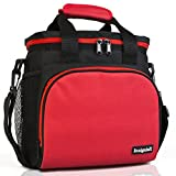 Insulated Lunch Bag: InsigniaX Adult Lunch Box For Work, Men, Women With Adjustable Strap, Front Pocket and Side Pocket [Unisex Lunch Bags] H: 8.4' x W: 6.3' x L:9.1' (Black & Red)