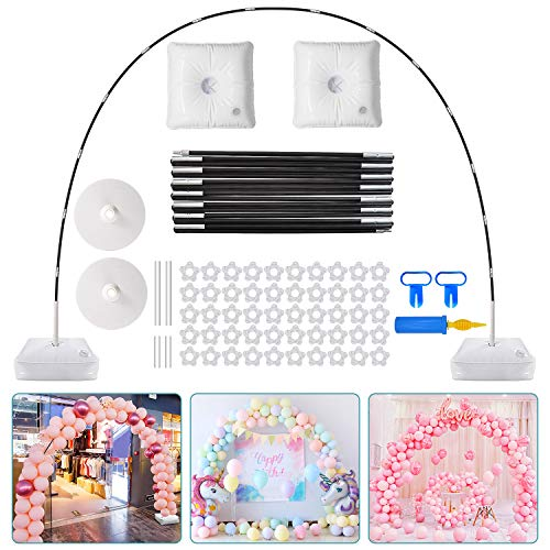 PlusFive Balloon Arch Kit,9FT Tall & 10Ft Wide Adjustable Balloon Stand Set with Water Fillable Base ,50Pcs Balloon Clips,Manual Pump Balloon Knotter-For Wedding Birthday Party Decorations