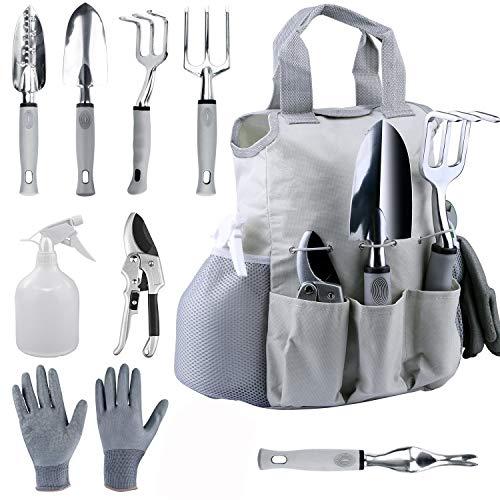 Xingdoz - Juego de herramientas de jardín (9 piezas, acero inoxidable, con bolsa de la compra)