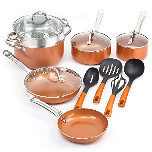 SHINEURI 14 Pieces Nonstick Ceramic Copper Cookware Set