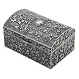 Vintage Metal Jewelry Box Small Trinket Storage Organizer Box Chest Ring Case for Girls Wo...