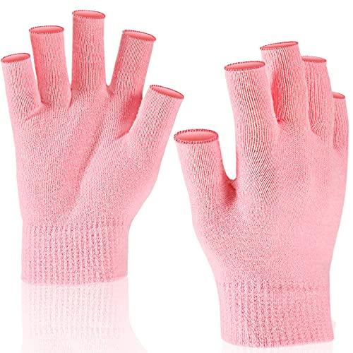 Feuchtigkeit Handschuhe Fingerlose Feuchtigkeitsspendend Handschuhe Trockene Hände Weich Elastisch Hautpflege Handschuh für Frauen Tag Nacht für Trockene Hände, Einheitsgröße, Rosa