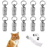ManLee 10 Stück Adressanhänger für Hunde Katzehalsband Anhänger Metall Hundeanhänger für Halsband mit Adresskapsel Wasserdicht Pillendose Adresshülse Silber