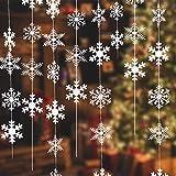 NEPAK 16 X 1,9Meter Weihnachten Winter Girlande Schneeflocken,Schneeflocke Girlande,Aufhängen Schneeflocken,Winter Schneeflocken Weihnachten Deko