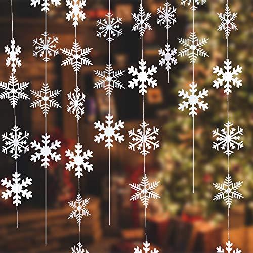 NEPAK 96 Pezzi Fiocchi di Neve di Natale Decorazione,Fiocchi di Eve Pendenti,Decorazioni per Albero di Natale Ornamenti(13cm)