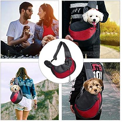 MaoXinTek Pet Sling Carrier Bag, Safe Dog Slings Backpack for Small Puppy Cat 2.5kg/5.5LB Breathable Mesh Travel Carrier Pouch, Shoulder Cross body Bag Hand Free for Outdoor Walking Subway 3