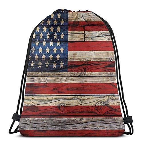 Odelia Palmer Mochilas Estampadas con cordón, tablones de Madera Pintados como la Bandera de Estados Unidos, Estilo campestre patriótico, Cierre de Cuerda Ajustable