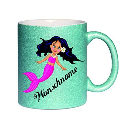 Crealuxe Glitzertasse (Hellblau) Meerjungfrau mit Wunschname - Kaffeetasse, Bedruckte Tasse mit Sprüchen oder Bildern, Bürotasse,